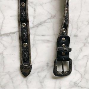 Vintage Silver Tone Metal Black Leather Belt S/M